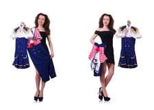 The woman with difficult choice of choosing clothing Royalty Free Stock Image