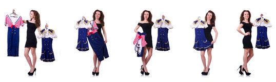 The woman with difficult choice of choosing clothing Stock Photography