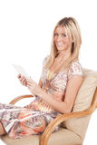 Woman with digital book royalty free stock photos