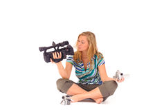 Woman with digital camcorder Stock Photography