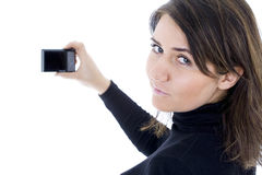 Woman with digital camera Royalty Free Stock Image