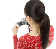 Woman with digital camera Royalty Free Stock Photography