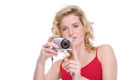 Woman with digital camera Royalty Free Stock Photos