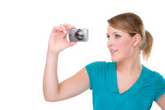 Woman With Digital Camera Stock Photos