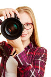 Woman with digital camera as photographer Royalty Free Stock Photos