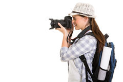 Woman digital camera Royalty Free Stock Image