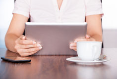 Woman With Digital Tablet And Cup Stock Image