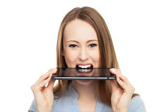 Woman with digital tablet in mouth Stock Photos