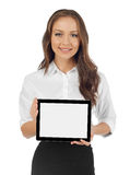 Woman with a digital tablet. Smiling woman with a digital tablet, white background Stock Photos