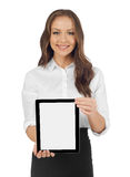 Woman with a digital tablet. Smiling woman with a digital tablet, white background Stock Photography