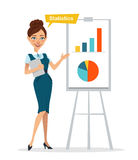 Woman with digital tablet standing near flipchart . Woman pointed to chart and diagram. Statistics. Business character. Royalty Free Stock Photography