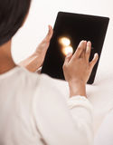 Woman with digital tablet. Royalty Free Stock Images