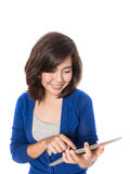 Woman with digital tablet on white background. Royalty Free Stock Photography