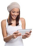 Woman and digital tablet Stock Photos