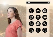 Woman with digitally generated mobile applications Stock Photography