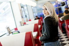Woman in the diner Stock Images