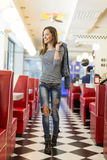 Woman in the diner Royalty Free Stock Images
