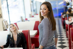Woman in the diner Stock Photo