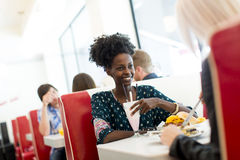 Woman in the diner Stock Photography