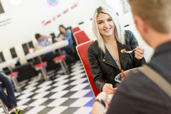 Woman in the diner Stock Photos