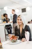Woman in the diner Royalty Free Stock Image