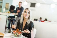 Woman in the diner Stock Image