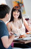 Woman Dining with Partner Stock Photo