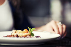 Woman with a dinner at restaurant Royalty Free Stock Photo