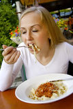Woman dinnig in restaurant. Royalty Free Stock Photo