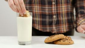 Woman cookie dipping warm milk snack. Woman dipping chocolate chip cookie in warm milk. Delicious and healthsome snack Stock Photography