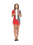 Woman with direction arrow sign Stock Photos