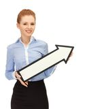 Woman with direction arrow sign Royalty Free Stock Photo