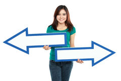 Woman with directory  arrows Stock Images
