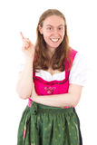 Woman in dirndl having great idea Stock Photos