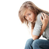 Woman is disappointed stock photos