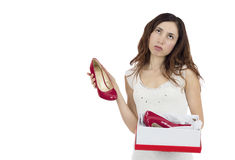 Woman disappointed about her gift Stock Photography