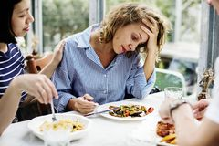 Woman disappointment without an appetite Stock Images