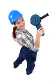 Woman with a disc cutter Stock Photography