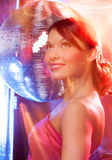 Woman with disco ball Royalty Free Stock Photo