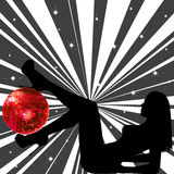 Woman with disco ball. Woman silhouette with disco ball Stock Photo
