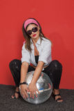 Woman with disco ball Royalty Free Stock Photos