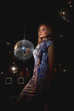 Woman disco mirror ball Royalty Free Stock Photos