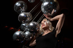 Woman disco mirror ball Stock Image