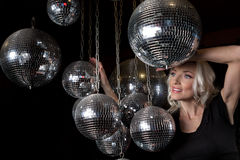 Woman disco mirror ball Royalty Free Stock Image