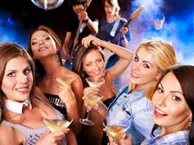 Woman on disco in night club. Lighting effects Royalty Free Stock Photos