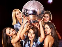 Woman on disco in night club. Royalty Free Stock Images