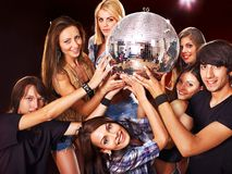 Woman on disco in night club. Stock Photo