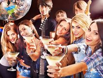 Woman on disco in night club. Stock Photography