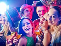 Dance party with group people dancing and disco ball. stock photo