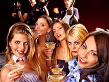 Woman on disco in night club. Stock Images